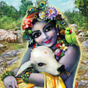 Lord Krishna On The Govardhan Poster