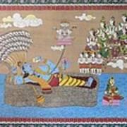 Lord Vishnu In Ananta Sayan Posture Poster
