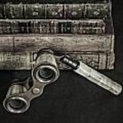 Lorgnette With Books Poster