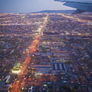 Los Angeles Aerial Overview On Approach To Lax At Night  Poster