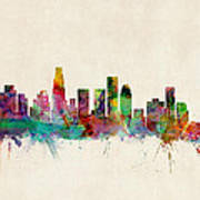 Los Angeles City Skyline Poster by Michael Tompsett