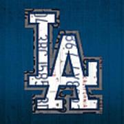 Los Angeles Dodgers Baseball Vintage Logo License Plate Art Poster