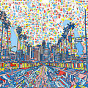 Los Angeles Skyline Abstract 3 Poster