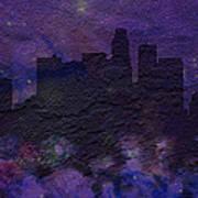 Los Angeles Skyline Brick Wall Mural Poster