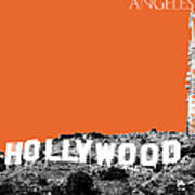 Los Angeles Skyline Hollywood - Coral Poster