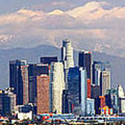 Los Angeles Skyline With Mountains In Background Poster