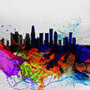 Los Angeles  Watercolor Skyline 2 Poster