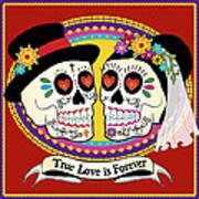 Los Novios Sugar Skulls Poster by Tammy Wetzel