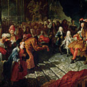 Louis Xiv 1638-1715 Receiving The Persian Ambassador Mohammed Reza Beg In The Galerie Des Glaces Poster