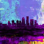 Louisville Watercolor Skyline Poster
