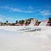 Lounge Chairs On Grace Bay Beach Poster by Jo Ann Snover