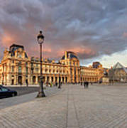 Louvre Museum At Sunset Poster