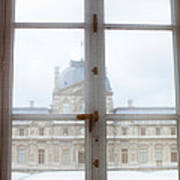 Louvre Museum Viewed Through A Window Poster