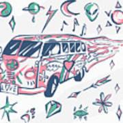 Love Bus Vector Poster. Hippie Car Poster