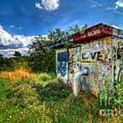 Love Graffiti Covered Building In Field Poster