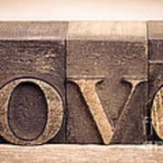 Love In Printing Blocks Poster by Jane Rix
