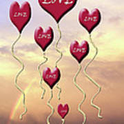 Love Is In The Air Sunshine Rainbow Poster by Cathy  Beharriell