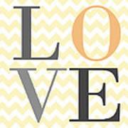 Love On Chevron Peach Poster