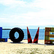 Love On The Beach Found Art Outer Banks Poster