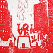 Love Park In Red Poster
