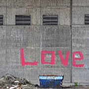 Love - Pink Painting On Grey Wall Poster