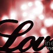 Love Sign With Red Sparkle Poster