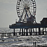 Lovers And A Surfer At Pleasure Pier Poster