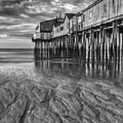 Low Tide At Orchard Beach Black And White Poster by Jerry Fornarotto