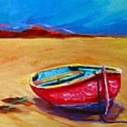 Low Tides - Landscape Of A Red Boat On The Beach Poster by Patricia Awapara
