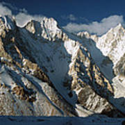 Lower Gasherbrum Peaks Showing Glacial Poster