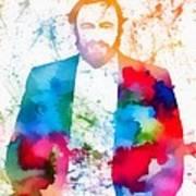 Luciano Pavarotti Paint Splatter Poster