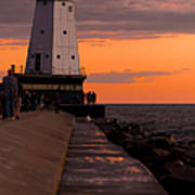 Ludington Pier And Lighthouse Poster