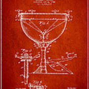 Ludwig Kettle Drum Drum Patent Drawing From 1941 - Red Poster