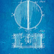Ludwig Snare Drum Patent Art 1912 Blueprint Poster
