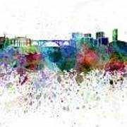 Luxembourg Skyline In Watercolor On White Background Poster