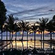 Luxury Infinity Pool At Sunset Poster