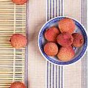Lychess With Bamboo Mat Poster by Jane Rix