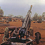 M102 105mm Light Towed Howitzer  2 9th Arty At Lz Oasis R Vietnam 1969 Poster