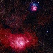 M8 The Lagoon Nebula And M20 The Trifid Poster