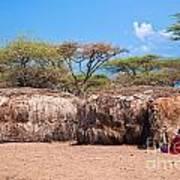 Maasai Huts In Their Village In Tanzania Poster