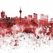 Macau Skyline In Red Watercolor On White Background Poster