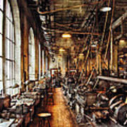 Machinist - Machine Shop Circa 1900's Poster by Mike Savad