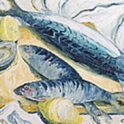 Mackerel With Oysters And Lemons, 1993 Oil On Paper Poster