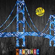 Mackinac Bridge Michigan License Plate Art Poster