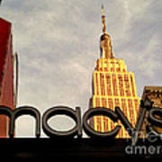 Macy's With Empire State Building - Famous Buildings And Landmarks Of New York City Poster