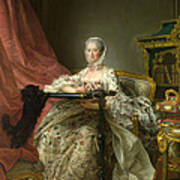 Madame De Pompadour At Her Tambour Frame Poster