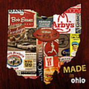 Made In Ohio Products Vintage Map On Wood Poster