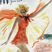 Mademoiselle Cover Featuring A Model At The Beach Poster