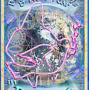 Madonna Dove Chalice And Logos Over Globe Holiday Art With Text Poster