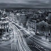 Madrid City Lights Poster